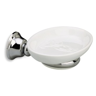 Soap Dish Wall Mounted Round White Ceramic Soap Dish with Brass Mounting SM09 StilHaus SM09