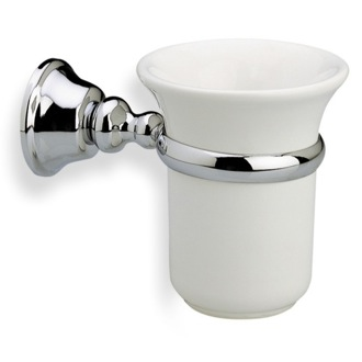 Toothbrush Holder Wall Mounted White Ceramic Toothbrush Holder with Brass Mounting SM10 StilHaus SM10