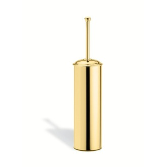 Round Brass Toilet Brush Holder in Gold Finish StilHaus SM039-16