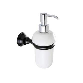 Soap Dispenser White Ceramic Soap Dispenser with Black or Chrome Brass Mounting StilHaus SM30