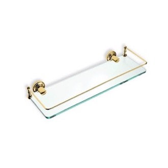 Gold Finish Clear Glass Bathroom Shelf StilHaus 766-16