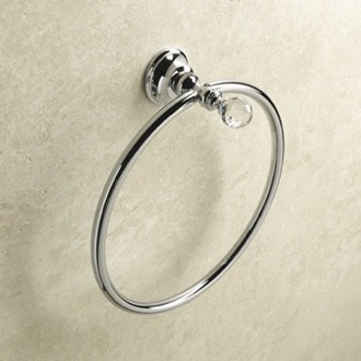 Chrome or Gold Finish Towel Ring with Crystal StilHaus SL07