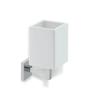 Toothbrush Holder Wall Mounted White Ceramic Toothbrush Holder with Brass Mounting U10 StilHaus U10
