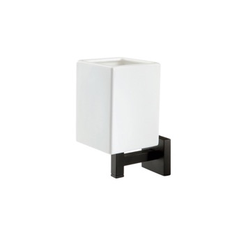 Toothbrush Holder Wall Mounted Ceramic Tumbler with Black Brass Mounting StilHaus U10-23