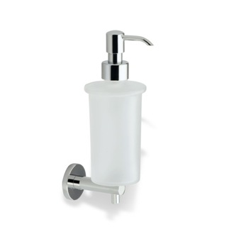 Soap Dispenser Wall Mounted Round Frosted Glass Soap Dispenser with Brass Mounting StilHaus VE30