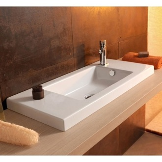 Rectangular White Ceramic Wall Mounted or Drop In Sink Tecla 3501011