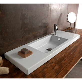 Bathroom Sink Rectangular White Ceramic Wall Mounted, Vessel, or Built-In Sink 3502011 Tecla 3502011