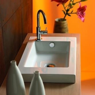 Bathroom Sink Rectangular White Ceramic Wall Mounted, Vessel, or Built-In Sink 3503011 Tecla 3503011