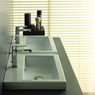 Bathroom Sink Rectangular White Ceramic Self Rimming, Wall Mounted or Vessel Bathroom Sink 4001011 Tecla 4001011