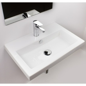 Rectangular White Ceramic Drop In or Wall Mounted Bathroom Sink Tecla 4001011