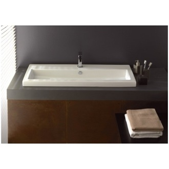 Bathroom Sink Rectangular White Ceramic Self Rimming, Wall Mounted or Vessel Bathroom Sink 4002011 Tecla 4002011