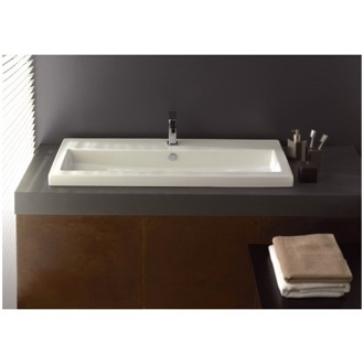 Rectangular White Ceramic Drop In or Wall Mounted Bathroom Sink Tecla 4004011A