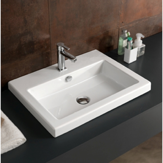 Bathroom Sink Rectangular White Ceramic Drop In Or Wall Mounted Tecla Can01011