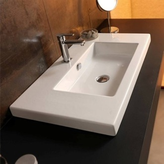 Bathroom Sink Rectangular White Ceramic Wall Mounted or Built-In Sink CAN03011 Tecla CAN03011