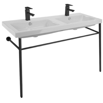 Double Ceramic Console Sink and Matte Black Stand Tecla CAN04011-CON-BLK