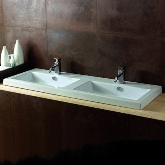 Rectangular White Double Ceramic Wall Mounted or Drop In Sink Tecla CAN04011