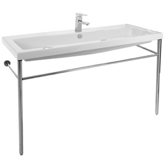 Large Rectangular Ceramic Console Sink and Polished Chrome Stand Tecla CAN05011A-CON