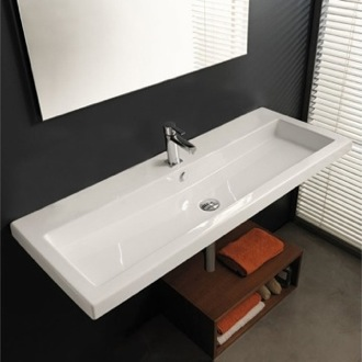 Rectangular White Ceramic Wall Mounted or Drop In Sink Tecla CAN05011A