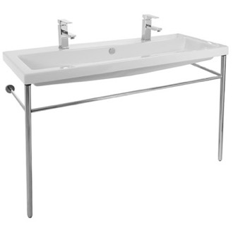 Bathroom Sink Large Double Ceramic Console Sink and Polished Chrome Stand Tecla CAN05011B-CON