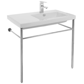 Console Sink Rectangular Ceramic Console Sink and Polished Chrome Stand CO01011-CON Tecla CO01011-CON