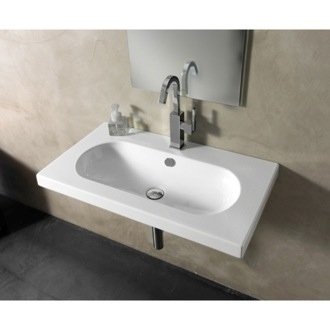 Bathroom Sink Rectangular White Ceramic Wall Mounted, Vessel, or Built-In Sink EDW2011 Tecla EDW2011