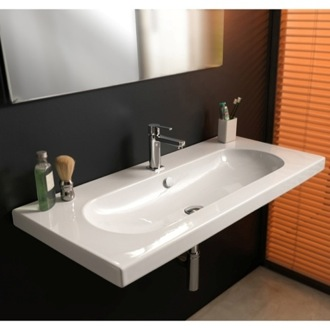 Bathroom Sink Rectangular White Ceramic Wall Mounted or Built-In Sink EDW3011 Tecla EDW3011