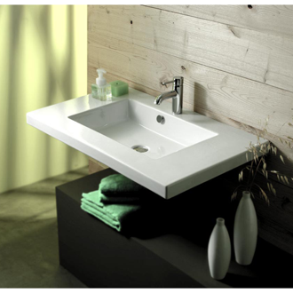 Bathroom Sink Rectangular White Ceramic Wall Mounted or Drop In Sink Tecla MAR02011
