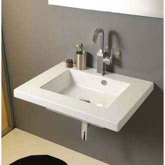 Rectangular White Ceramic Wall Mounted or Drop In Sink Tecla MAR01011