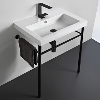Ceramic Console Sink and Matte Black Stand Tecla CAN01011-CON-BLK