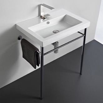 Rectangular Ceramic Console Sink and Polished Chrome Stand Tecla CAN01011-CON