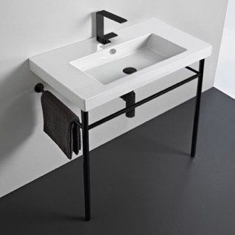 Ceramic Console Sink and Matte Black Stand Tecla CAN02011-CON-BLK