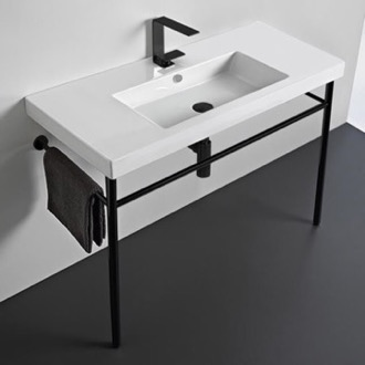 Ceramic Console Sink and Matte Black Stand Tecla CAN03011-CON-BLK