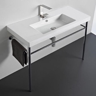 Rectangular Ceramic Console Sink and Polished Chrome Stand Tecla CAN03011-CON