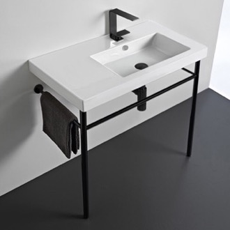 Ceramic Console Sink and Matte Black Stand Tecla CO01011-CON-BLK