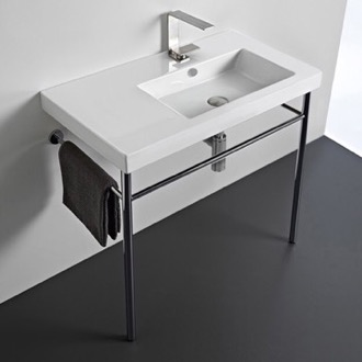 Rectangular Ceramic Console Sink and Polished Chrome Stand Tecla CO01011-CON