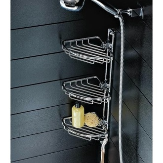 Shower Basket Polished Chrome Triple Corner Wire Shower Basket 0884 Toscanaluce 0884