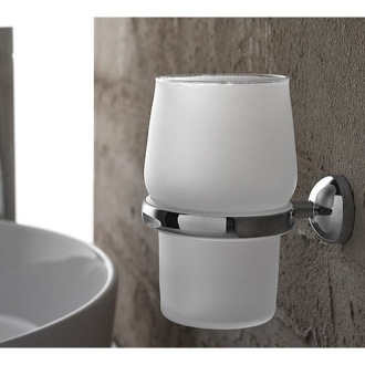 Toothbrush Holder Wall Mounted Round Frosted Glass Toothbrush Holder Toscanaluce 1502