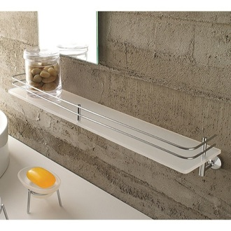 Bathroom Shelf Frosted Glass 24 Inch Bath Bathroom Shelf With Railing 1513 Toscanaluce 1513