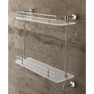 Bathroom Shelf 16 Inch Double Tier Frosted Glass Bathroom Shelf With Railing 1542 Toscanaluce 1542