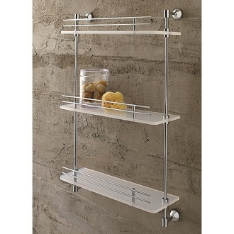 Bathroom Shelf 16 Inch Triple Tier Frosted Glass Bathroom Shelf With Railing 1543 Toscanaluce 1543