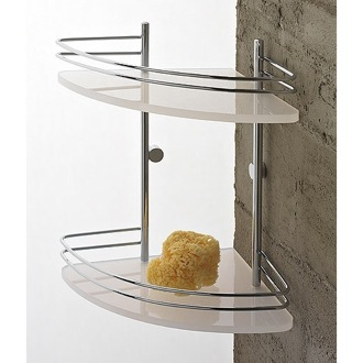 Plexiglass Double Tier Corner Shower Shelf With Chromed Brass Railing Toscanaluce 1583