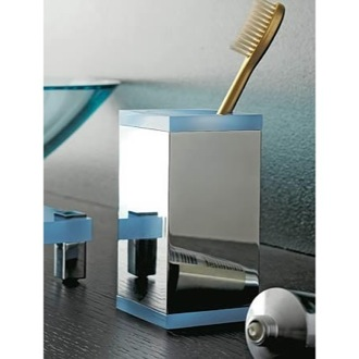 Toothbrush Holder Square Brass and Plexiglass Tumbler 4562 Toscanaluce 4562