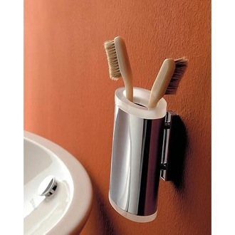 Toothbrush Holder Wall Mounted Round Brass and Plexiglass Tumbler Toscanaluce 5502