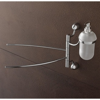 Swivel Towel Bar 14 Inch Chrome Swivel Towel Bar with Frosted Glass Soap Dispenser 9028 Toscanaluce 9028