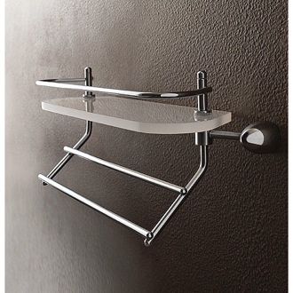 Bathroom Shelf Plexiglass 16 Inch Bath Bathroom Shelf With Railing And Towel Bar Toscanaluce 9038