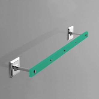 Green Plexiglass 24 Inch Towel Bar with Chrome Wall Mounts Toscanaluce G209-VR