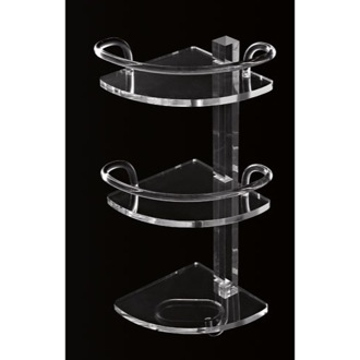 Bathroom Shelf Plexiglass Triple Corner Bathroom Shelf with Rails and Hook L004/TR Toscanaluce L004/TR