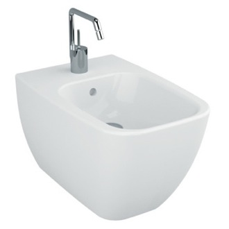 Contemporary Wall Mounted Square Ceramic Wall Mount Bidet Vitra 4394-003-0288