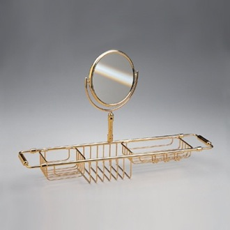 Shower Basket Chrome and Gold Bathtub Rack with Magnifying Mirror 85115D Windisch 85115D