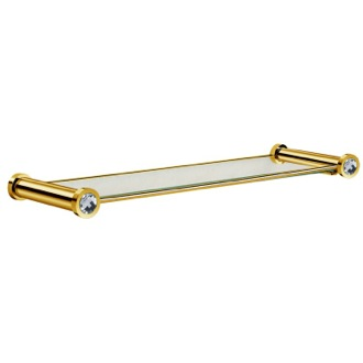 21 Inch Glass Bathroom Shelf With White Crystals in Gold Finish Windisch 85505OB